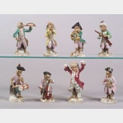 Nine-Piece Dresden Porcelain Monkey Band