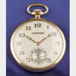 Art Deco 18kt Gold Open Face Pocket Watch, Tiffany & Co.