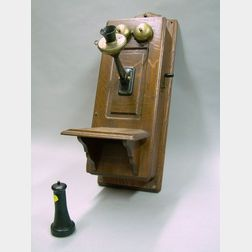 Monarch Telephone Manufacturing Co. Oak Wall Mounted Magneto Telephone