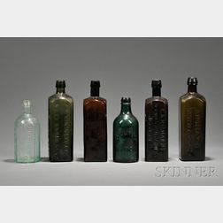 Six Blown-molded Colored Glass Bottles