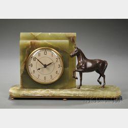 Whitehall Hammond Onyx Electric Clock with Horse Figure