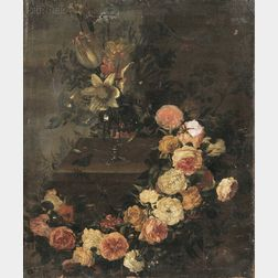 School of Gaspar Pieter Verbruggen the Elder (Flemish, 1635-1687)      Floral Still Life with Vase and Garland