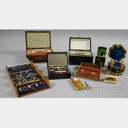 Nine Assorted Mostly 19th Century Sewing Boxes and Cases with Contents