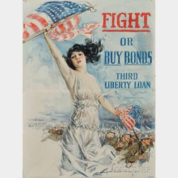 Howard Chandler Christy WWI Lithograph Fight or Buy Bonds   Poster