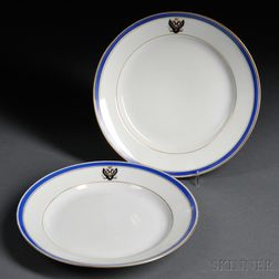 Two Russian Imperial Porcelain Factory Plates from the Tsarskoe Selo Service