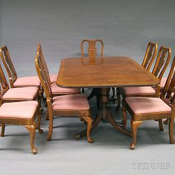Henredon Federal-style Inlaid Mahogany Two-pedestal Dining Table and Twelve   Queen Anne-style Dining Chairs