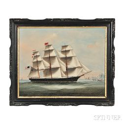 Chinese School, 19th Century     Portrait of the Merchant Ship Boston Light