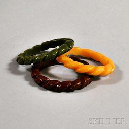 Three Bakelite Rope-turned Bangles
