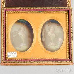 Velvet-cased Stereo Daguerreotype of a Woman.     Estimate $300-500