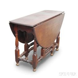 William and Mary Oak One-drawer Gate-leg Table
