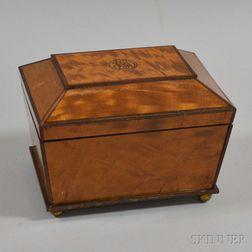 Georgian-style Fruitwood Veneer Casket-form Tea Caddy