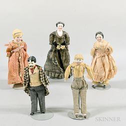 Five Bisque and China Dollhouse Dolls.     Estimate $200-400