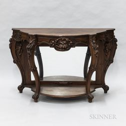Rococo Revival-style Carved Rosewood Mirrored Console Table