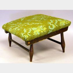 Shaker Upholstered Stained Cherry and Maple Footstool