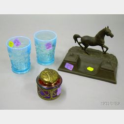 Cast Metal Horse Figural Double Inkwell, a Pair of Opalescent Blue Pressed Glass Tumblers, and an Art Nouveau M...