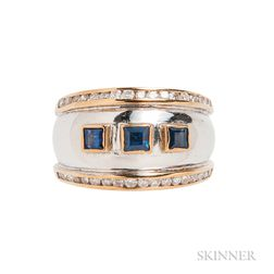18kt Bicolor Gold, Sapphire, and Diamond Ring
