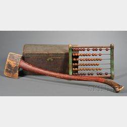 Three Painted Wooden Items: Axe, Abacus, and a Dome-top Box