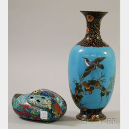 Champleve Bird-form Incense Burner and a Cloisonne Bird-decorated Vase