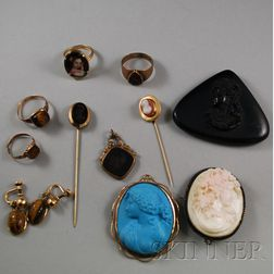Small Group of Victorian Gold and Gold-filled Jewelry