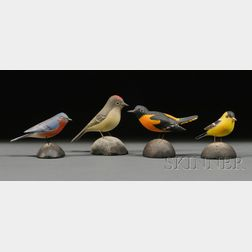 Four Carved and Painted Miniature Songbirds