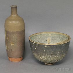 Late 20th Century Studio Art Pottery Stoneware Vase and Bowl
