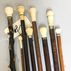 Eight Wood Canes