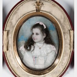 Anglo American School, 19th/20th Century      Portrait Miniature of a Young Girl