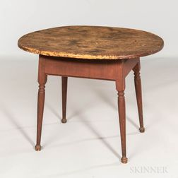 Red-painted Oval-top Tavern Table