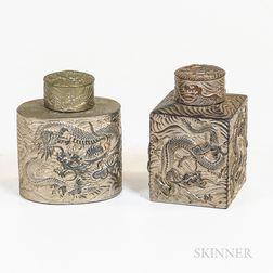 Two Silvered Pewter/Bronze Tea Caddies