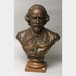 H. Muller (Austrian)  Bronze Bust of William Shakespeare