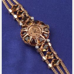 14kt Rose Gold, Citrine and Diamond Watch, Lucien Picard