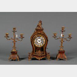 Three Piece Louis XV/XVI-style Boullework and Ormolu Clock Garniture