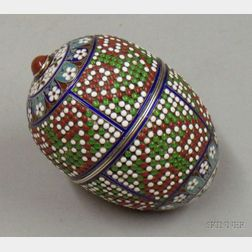 Russian Silver Enamel and Hardstone-mounted Egg