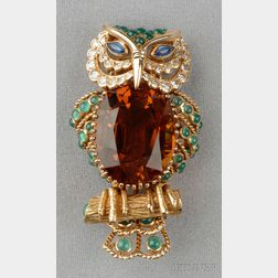 18kt Gold, Citrine, Diamond and Gem-set Owl Brooch, Champagnat, France