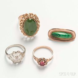 Three Rings and a Malachite Brooch