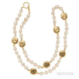 Gilt-metal and Faux Pearl Necklace, Chanel
