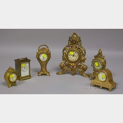 Collection of Six Brass and Spelter Case Clocks