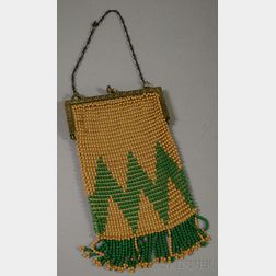 Vintage Taupe and Green Beaded Purse