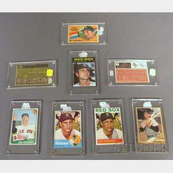 Eight Topps Carl Yastrzemski Baseball Cards and Autograph Photograph of Boston Red   Sox Carl Yastrzemski's Last at Bat