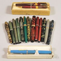 Fifteen Assorted Vintage Fountain Pens and One Mechanical Pencil