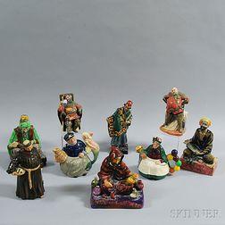 Nine Doulton Character Figures