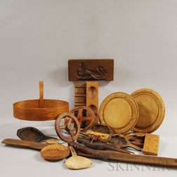 Twenty Wooden Domestic Items