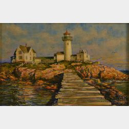 James Francis Murray (American, 1899-1990)      Eastern Point Lighthouse and Dog Bar Breakwater