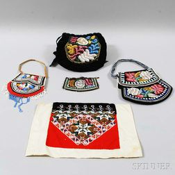Five Northeast Beaded Cloth Items