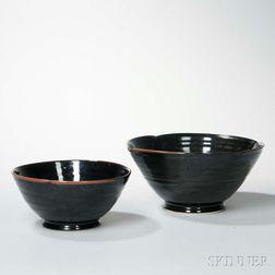 Two Large Black-glazed Pottery Bowls