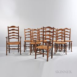 Group of Eight English Elm Chairs