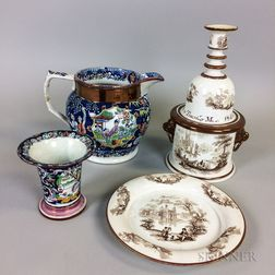 Five Lustre Ceramic Items