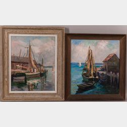 Caroline M. Bell (American, 1874-1970)      Two Works: Greenport, Long Island