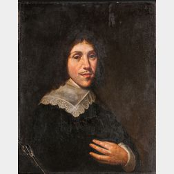 Dutch School, 17th Century      Bust-length Portrait of a Man in a Lace-trimmed Linen Collar with His Hand on His Chest