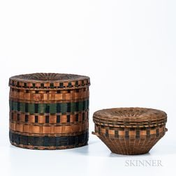 Two Northeast Polychrome Stamp-decorated Wood Splint Baskets